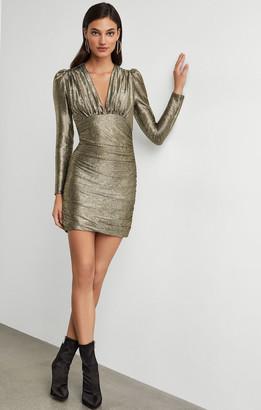 BCBGMAXAZRIA Metallic Shirred Bodycon Dress