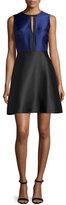 Erin Fetherston Eliza Colorblock Fit-&-Flare Dress, Black/Sapphire