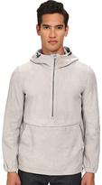 Vince Pullover 1/2 Zip Leather Hoodie Men's Sweatshirt