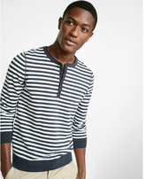 Express Striped Long Sleeve Henley Sweater