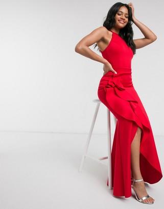 Lipsy X Abbey Clancy halterneck ruffle maxi dress in red