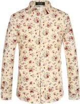 SSLR Men's Floral Button Down Casual Long Sleeve Shirt (, Blue White)