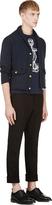 Thom Browne Navy Shawl Collar Cardigan