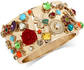 Betsey Johnson Gold-Tone Multi-Charm Hinged Bangle Bracelet