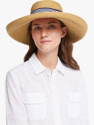 John Lewis & Partners Adjustable Braided Stripe Detail Floppy Sun Hat, Natural/Multi