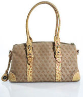 Dooney & Bourke Dooney And Bourke Beige Canvas Monogram Print Embossed Leather Satchel Handbag