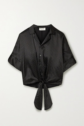 Saint Laurent Tie-front Studded Silk-satin Blouse - Black
