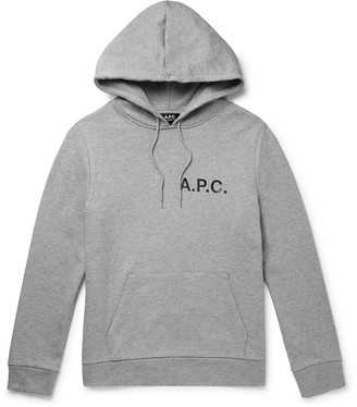 A.P.C. Logo-Print Melange Loopback Cotton-Jersey Hoodie