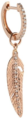 Jacquie Aiche 14kt Rose Gold Single Feather Earring With Diamonds