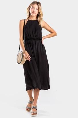 francesca's Ellah Pleated Neck Flawless Dress - Black