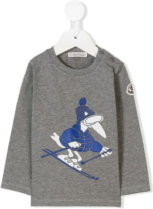 Moncler Enfant skiing bird print T-shirt