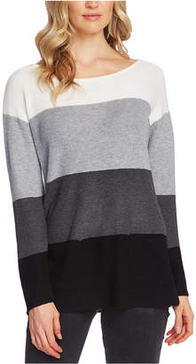 Vince Camuto Petite Waffle-Stitched Colorblocked Sweater