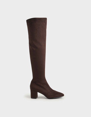 Charles & Keith Textured Thigh High Boots
