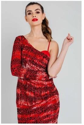Pretty Darling Velvet Burnout Draped One Shoulder Mini Dress in Red Leopard