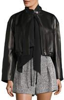 3.1 Phillip Lim Cropped Lamb Leather Bomber Jacket