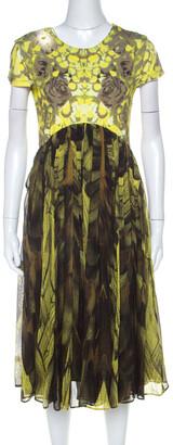 McQ Yellow & Brown Digital Print Jersey & Silk Dress XL