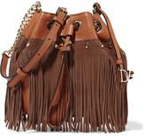 Diane von Furstenberg Vintage Boho Disco suede-fringed textured-leather bucket bag