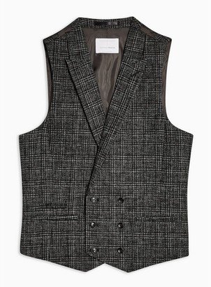 Topman Mens Heritage Black Check Skinny Fit Double Breasted Suit Vest