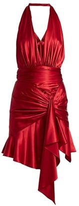 Alexandre Vauthier Satin Ruffled Halter Mini Dress