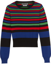 Moschino Striped Stretch-knit Sweater - Royal blue