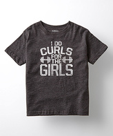 Heather Charcoal 'I Do Curls For the Girls' Tee - Kids