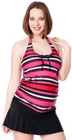 Oh Baby by motherhood striped halterkini top and skirtini swim set - maternity
