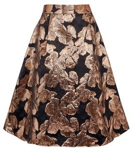Dorothy Perkins Womens Luxe Bronze Printed Jacquard Skirt
