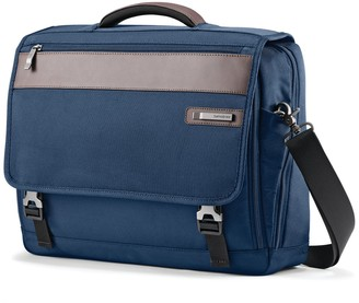 Samsonite Kombi Flapover Legion Blue Nylon & Leather Briefcase
