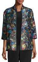 Caroline Rose Moody Blooms Printed Easy Jacket, Plus Size