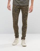 Asos Super Skinny Jeans In Camo