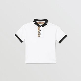 Burberry Childrens Vintage Check Trim Cotton Polo Shirt