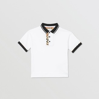 Burberry Vintage Check Trim Cotton Polo Shirt