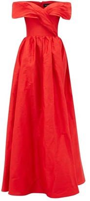 Rasario Off-the-shoulder Silk-dupion Gown - Womens - Red