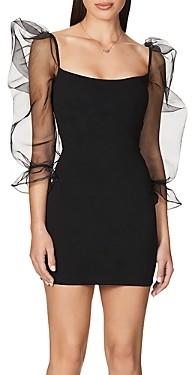 Nookie Eleganza Organza-Sleeve Bodycon Mini Dress