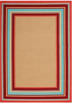 Miami Border Stripe Indoor/Outdoor Rug in Beige Multi