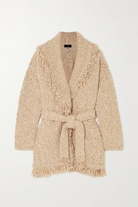 Alanui Belted Beaded Embroidered Fringed Melange Cotton-blend Cardigan - Beige
