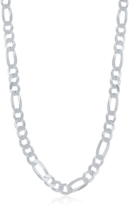 Simona Jewelry Sterling Silver 5.8mm Figaro Chain Necklace