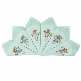 Houlife Ladies Embroidered Handkerchiefs 100% Cotton 60S Womens Green Lace Trim Floral Hankies for Wedding Party 6/12 Pieces 29x29cm