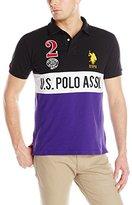 U.S. Polo Assn. Men's Color Block Slim Fit Pique Polo Shirt with Number 2 Appliques