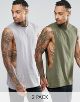 Asos Sleeveless T-Shirt With Extreme Dropped Armhole 2 Pack