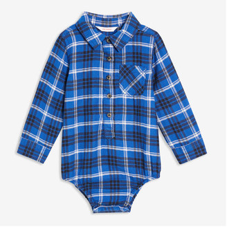 Joe Fresh Baby Boys' Plaid Bodysuit, Indigo (Size 18-24)