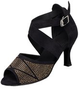 TDA Women's Fashion Classic Cross Strap Buckle Suede Crystal Latin Dance Shoes