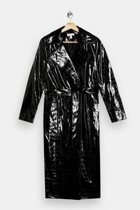 Topshop Black Patent PU Crocodile Trench Coat