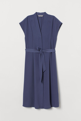 H&M Tie-belt Satin Dress - Blue