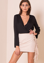 Missy Empire Etta Beige Suede Ring And Tassel Detail Mini Skirt