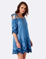Forever New Cold Shoulder Embroidered Dress