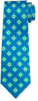 Kiton Neat Spaced Flower Silk Tie, Blue/Green