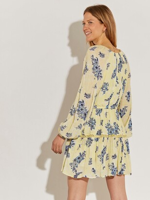 River Island Broderie Floral Smock Dress-yellow