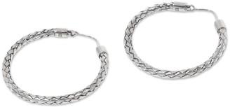 Novica Sterling Silver Hoop Earrings, 'Pandan Weaving'