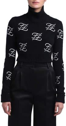 Fendi Wool-Cashmere Funnel Turtleneck Logo Sweater